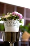 Floral arrangement customised to theme colors of white, lilac and silver
