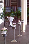 Outdoor wooden deck set up for solemnization ceremony
